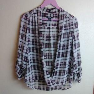 #534 ALFANI Plaid open blouse